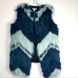 Bar III Patchwork Faux Fur Vest Size Medium NWT